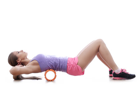 woman on foam roller